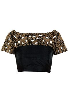 Black cut work blouse with beautiful zardosi handwork.