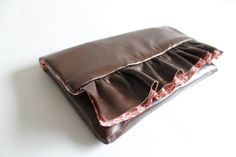 Leather clutch ruffle clutch OOAK by Amayahandmade on Etsy, $45.00