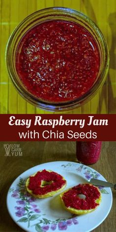 Chia seeds are a healthy addition to any diet. This easy raspberry jam recipe with chia uses the seeds to thicken this fruit spread. | LowCarbYum.com via @lowcarbyum