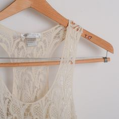 "Boutique lace crochet tank dress Loose fitting off white lace tank, great for layering. 28"" long Solitaire Tops Camisoles"