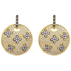 Freida Rothman 14K Gold Plated Sterling Silver CZ Pave Clover... ($130) ❤ liked on Polyvore featuring jewelry, earrings, black and gold, sterling silver disc earrings, black and gold earrings, gold plated earrings, cz drop earrings and drop earrings