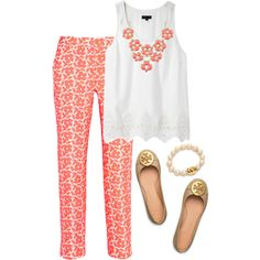 A fashion look from September 2014 featuring silk shirt, pink pants y ballet flats. Browse and shop related looks.