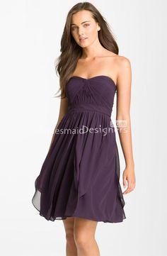 Eggplant chiffon strapless sleeveless a-line, short above knee length draped bridesmaid dress.