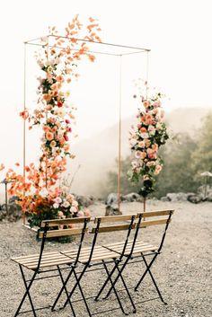 Colorful spring floral wedding in Southern California at Oakridge Farmhouse - Wedding Arch Wedding Ceremony Ideas, Wedding Altars, Outdoor Wedding Decorations, Wedding Arches, Wedding Venues, Metal Wedding Arch, Wedding Backdrops, Wedding Ceremony Backdrop, Wedding News