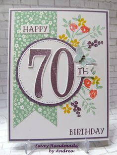 Happy 70th Birthday Card using Stampin' Up! Number of Years stamp set and Large Number framelits.