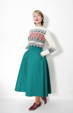 Vintage skirt / green wool long  full skirt / size M by nemres, $38.00