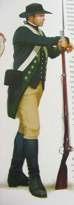 "Continental soldier. Source website claims that of a 3rd NY Regiment. This is most likely faulty. The book ""UNIFORMS FROM 1775 - 1783"" (Smith & Kiley) lists 3rd NY Regiment 1776: Gray coat, red facings, grey lining, gray breeches, black equipment, tricorne with black tape. 3rd NY after 1778: Blue or brown coats, faced green."