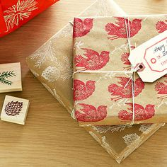 Stamps on kraft paper then tie with string or ribbon of your choice. #giftwrap #stamping
