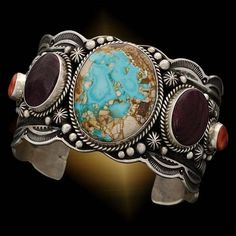 Cuff | SamsVille Gallery Designs. Sterling silver, Turquoise, Orange and Purple Spiny Oyster Shell
