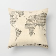 Old Sheet Music World Map Throw Pillow by ArtPause - $20.00