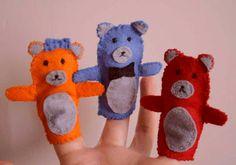 Felt finger - three bears / Handamde by Taja