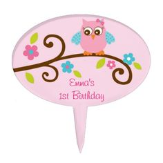 Shop Mod Girl Owl Cake Topper Cupcake Topper created by PoshPartyPrints. Owl Cake Toppers, Mod Girl, Baby Girl Cakes, Cake Picks, Personalized Cake Toppers, Cute Cakes, Safe Food, Printing Process, Your Favorite