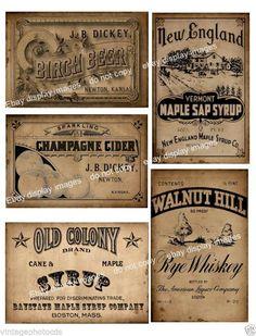 Primitive Pantry Bottle / Jar Labels FH141 Set of four vintage style prims