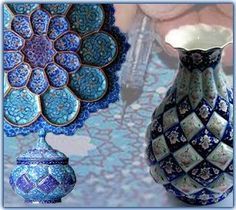 Persian Enamel Work ( Mina Kari)-Painting on Metal.This art is among the most creative inventions. In enamel-work, the surface of various metal articles such as gold, silver or copper, are painted by means of colorful luster.