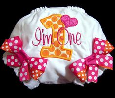 First Birthday Bloomers Pink and Orange Birthday by Whimsy Tots Boutique, $22.50