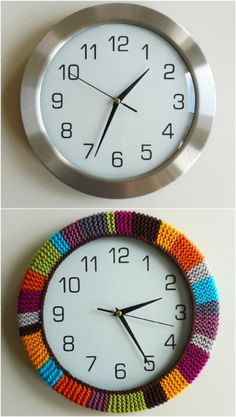 Give your clock a cozy with leftover embroidery thread/yarn/ colored twine/string