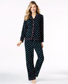 Charter Club Fleece Notch Collar Top and Pajama Pants Set