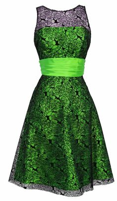 Amazon.com: Rose Lace Over Satin Prom Dress Formal Cocktail Gown Junior and Junior Plus Size, Medium, Black/Lime: Clothing
