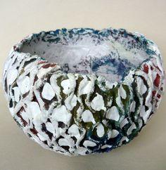 Decorative Original Paper Mache Bowl. $60.00, via Etsy.