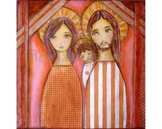 Holy Family- Folk Art Nativity Print from Painting (7 x 7 inches PRINT) by FLOR LARIOS on Etsy, $15.00