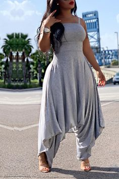 lovelywholesale / Lovely Trendy Loose Grey One-piece Jumpsuit Grey One Piece, Two Piece Pants Set, Two Piece Outfit, Wholesale Shoes, Wholesale Clothing, Mode Outfits, Fashion Outfits, Style Fashion, Fashion Trends