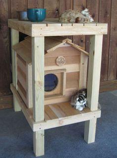 Cedar Cat House with Platform & Loft   Visit & Like our Facebook page! https://www.facebook.com/pages/Rustic-Farmhouse-Decor/636679889706127