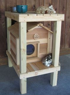 Cedar Cat House with Platform & Loft   Visit & Like our Facebook page! https://www.facebook.com/pages/Rustic-Farmhouse-Decor/636679889706127