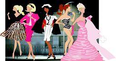 Adobe illustrator Fashion Line 5 models drawing assignment.
