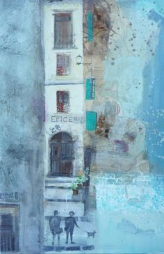 The Shady Streets Of Entrevaux by Emmie van Biervliet | Mixed media on board 16 x 24ins http://www.emmievb.com/index.php/gallery/europe