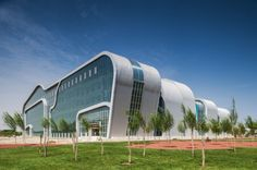 Architects: hpa Location: Zhongwei, Ningxia, China Area: sqm Year: 2009 Photographs: Courtesy of Zhongwei Cultural Complex Innovative Architecture, Hotel Architecture, Contemporary Architecture, Architecture Design, Zaha Hadid Buildings, Modern Buildings, Crazy Houses, Building Facade, Civil Engineering