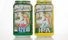 Georgia-based SweetWater Brewing Company has announced that it will start distributing its flagship 420 Extra Pale Ale and its SweetWater IPA in and aluminum cans. Sweetwater 420, Beer Packaging, Packaging Design, Aluminum Cans, Beer Label, Best Beer, Brewing Company, Ipa, Ale