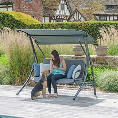The Portofino Swing Seat from Alexander Rose offers a contemporary styled seating area for your garden, letting you relax and unwind while shaded from the sun.
