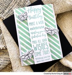 Birthday card by Rachel Greig using Darkroom Door Diagonal Stripes Background Stamp, Birthday Sentiments Stamp and Fine Butterflies Stamp Set. Birthday Sentiments, Birthday Cards, Happy Birthday, Distress Markers, Distress Oxide Ink, Merry Mail, Hatch Pattern, Christmas Envelopes, Wish You The Best
