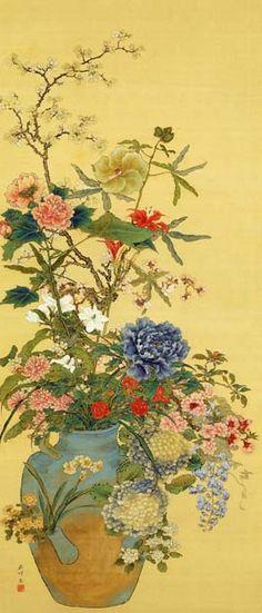岡本秋暉, 百花一瓶図, 19世紀. Okamoto Shuki, Hyakka Ippei Zu, Japan, 19 Century.