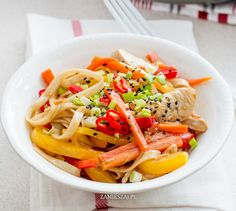 Udon Noodles with Pepper and Carrot Udon Noodles, Lunch Time, Carrots, Spaghetti, Stuffed Peppers, Ethnic Recipes, Food, Stuffed Pepper, Essen