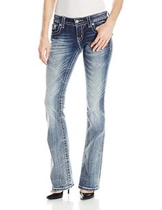 Miss Me Junior's Multi-Color Embellished Flap Pocket Bootcut Jean, Medium Wash, 27 -- To view further for this item, visit the image link.