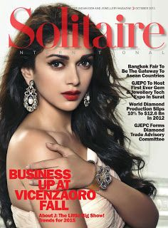 Aditi Rao Hydari on The Cover of Solitaire Magazine - October 2013.