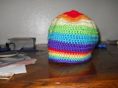 Rainbow beanie for a fabulous friend.