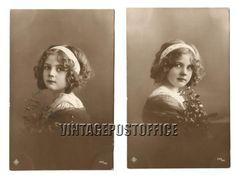 Young girl 2 vintage postcards 1913 Belgian door vintagepostoffice