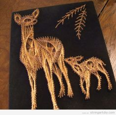 string art with copper treads deer Copper String Art!