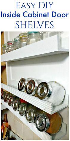 DIY Inside Cabinet Door Shelf #PowerToolOrganization