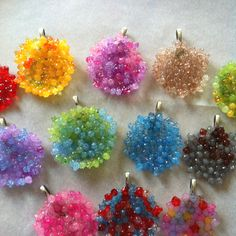 Melt acrylic beads in a mini muffin cup for 20 mins at 400 degrees to make melted bead necklace pendants!