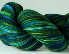 Hand dyed yarn from Bird's Nest Yarns.    Lovely mermaid grotto colors.