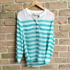 Old Navy sheer Tunic Old Navy white and teal striped tunic, size small Old Navy Tops Blouses