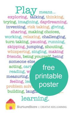 Why is play important for children's development - free printable poster