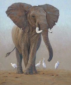 elephant art | old elephant - Painting - Nature Art by Eva Van Rijn