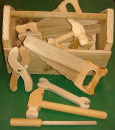 This is a fun set of toy tools I made for the kids that come to play in my shop everyday. My shop has become a communal play area. I ...