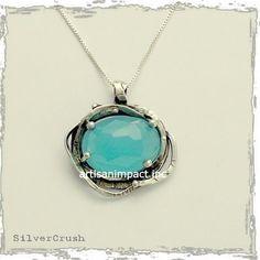 Chunky Silver pendant, faceted blue quartz Pendant, silver box chain, blue stone pendant, organic pendant, small - The Seven Seas N8915