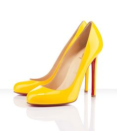 Oh Christian Louboutin you had me at red soles and now you own me with patent yellow!!