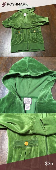 Juicy Courure track jacket Gorgeous green zip up hoodie with braided pocket detail. Great shape! Juicy Couture Tops Sweatshirts & Hoodies